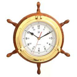 Bey-Berk International 13.5 in. Brass/Oak Ships Wheel, Clock - Tarnish Proof,