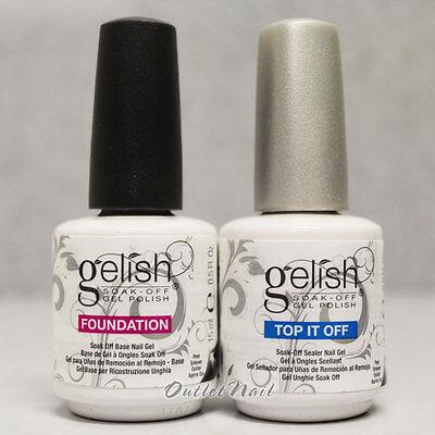 GELISH Harmony Soak Off Gel Nail Polish FOUNDATION Base & Top Coat 15 mL 0.5oz