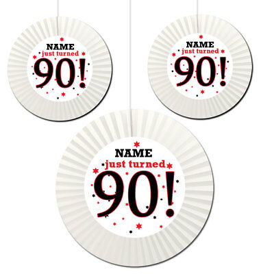 90th Birthday Party Decorations (90th Birthday (Age 90) Party Supplies PERSONALIZED HANGING FAN)