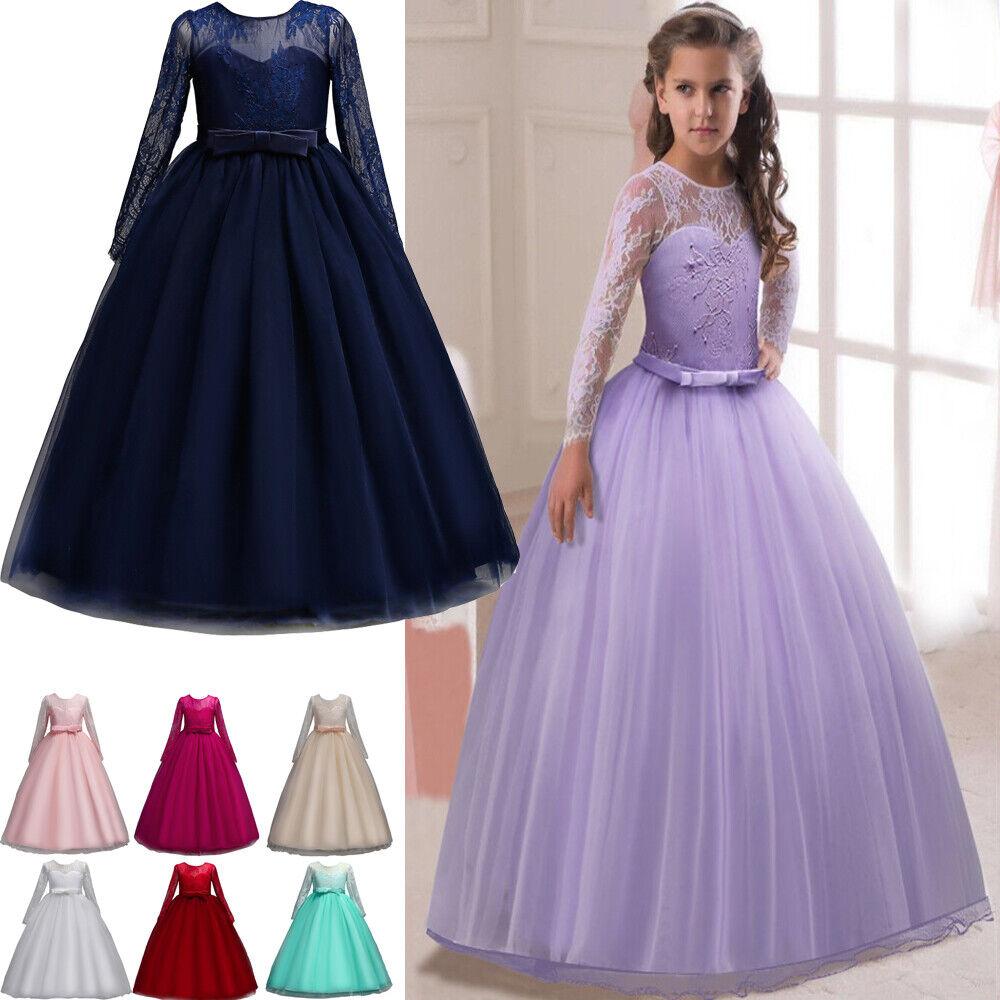 Kinder Blumenmädchen Kleid Spitze Lang Tüll Abendkleid für Hochzeit Brautjungfer