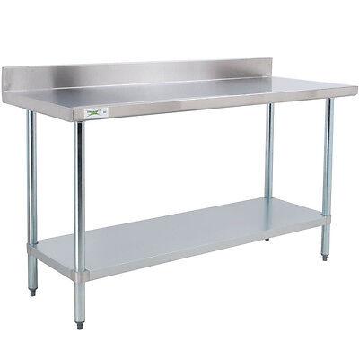 24 X 60 Stainless Steel Work Prep Shelf Table With Backsplash Commercial Nsf