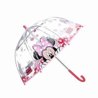 Ombrello Canna | in rosa e trasparente | Minnie Mouse | Ombrello per bambini