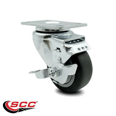 Thermoplastic Rubber Swivel Top Plate Caster - 3.5 Wheel Brake