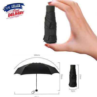 Mini 5-Folding Compact Umbrella Windproof Anti-UV Rain Sun Travel Portable Black - Mini Umbrellas