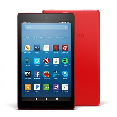 """Amazon Fire HD 8 Tablet E-Reader with Alexa, 8"""" HD Display, 16 GB – Punch Red"""