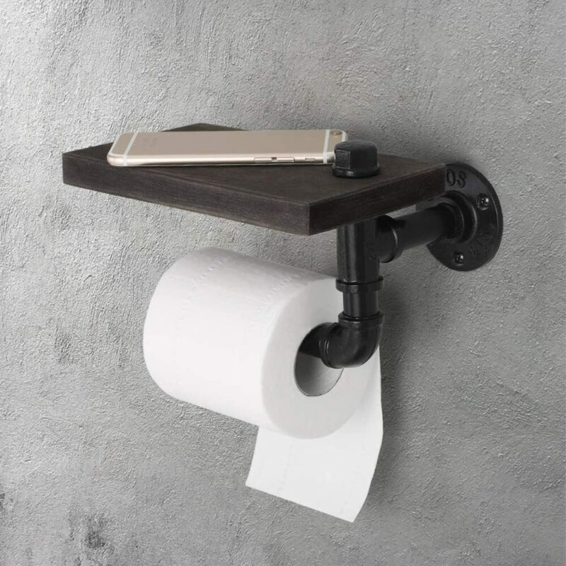 Industrial Wall Mounted Pipe Toilet Paper Tissue Holder -Rustic Wooden Shelf