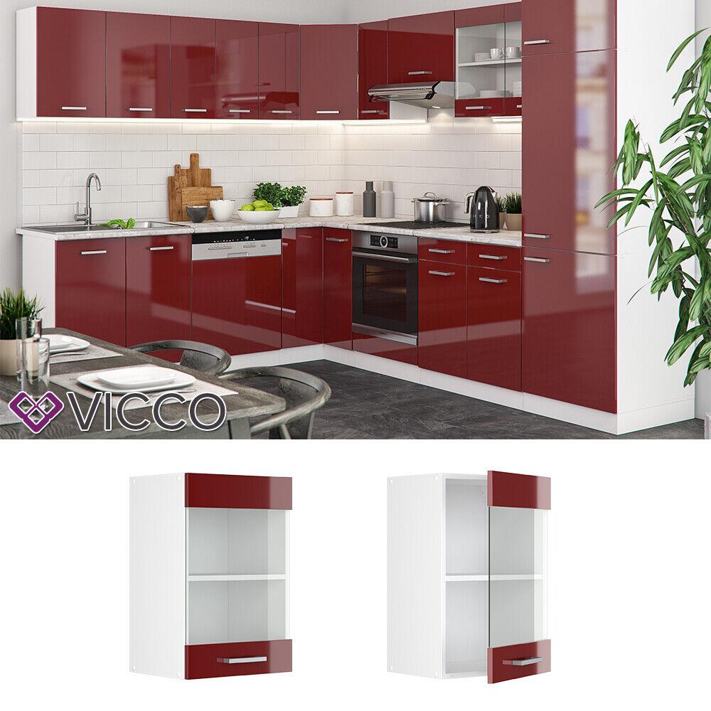 VICCO Küchenschrank Hängeschrank Unterschrank Küchenzeile R-Line Hängeglasschrank 40 cm bordeaux