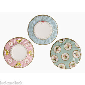 Vintage Style Paper Plates x 12 - Weddings / Party Alice in Wonderland Style