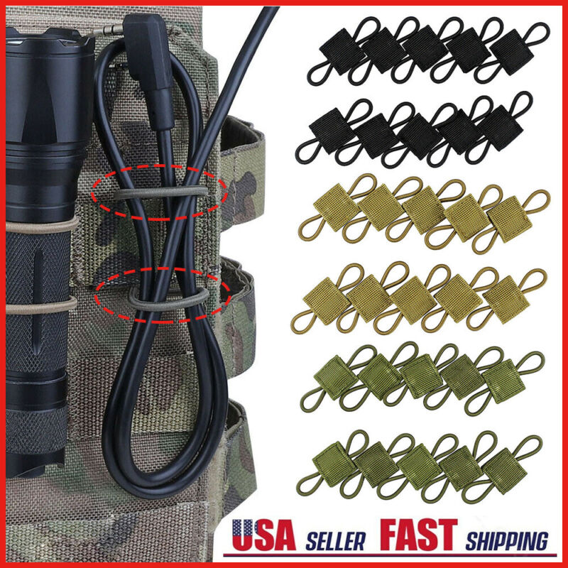 10Pcs PTT Retainers Tactical Molle Retainers Webbing Communication Cable Outdoor