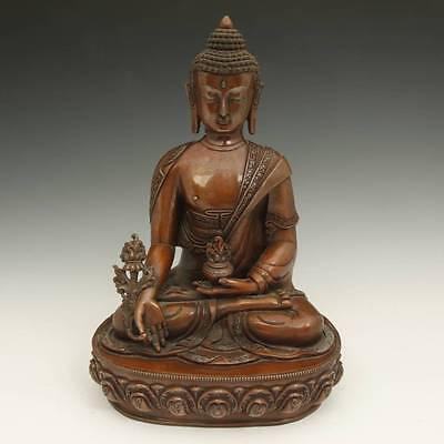 SEATED FIGURE MEDICINE BUDDHA BHAISAJYAGURU BRONZE COPPER BUDDHISM NEPAL 20TH C