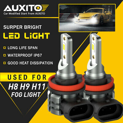 2X AUXITO H11 H16 H8 LED Fog Driving Light 6000K Super Bright Bulb DRL White L3A