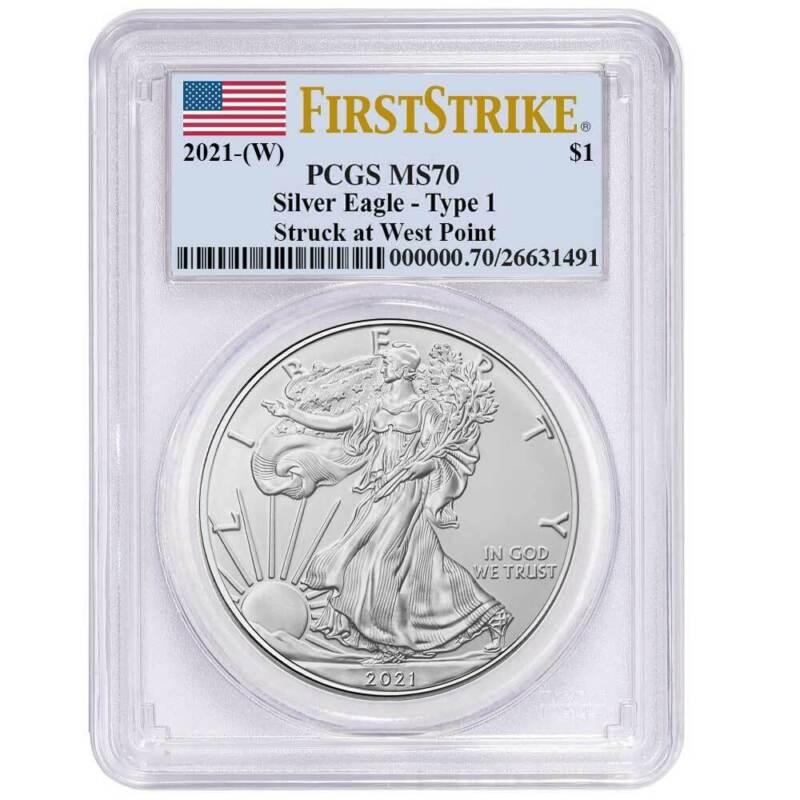 2021 (W) $1 American Silver Eagle PCGS MS70 FS Flag Label