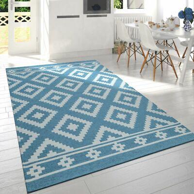 Moderner Wohnzimmer Kurzflor Teppich Skandi Design Rauten Muster In Türkis Weiß