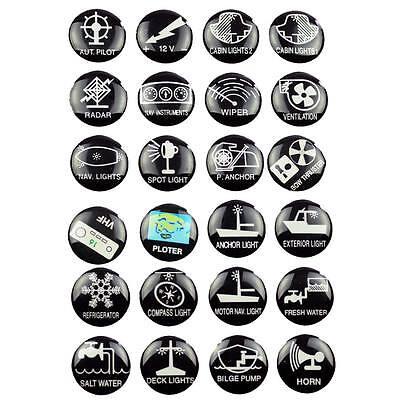 24 Aufkleber für Schalter Boot Schaltersymbole Schaltpaneel Schalttafel Symbol