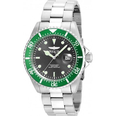 Invicta 22021 Gent's Green Accented Bezel Grey Dial Dive Watch Bezel Green Wrist Watch