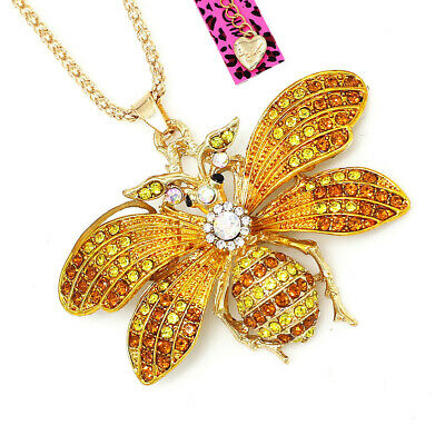 Betsey Johnson Enamel Crystal Cute Bee Honeybee Pendant Sweater Chain Necklace