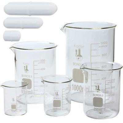 Glass Low Form Beaker Set W Magnetic Stir Bar Set 50 100 250 500 And 1l Ks