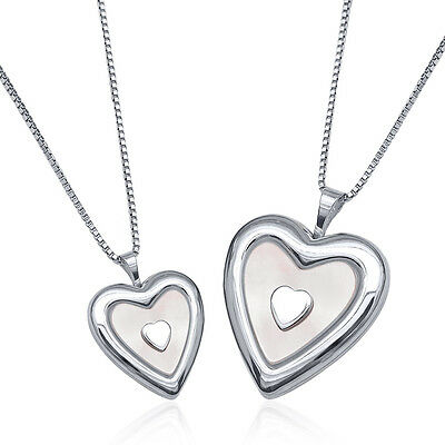 Sterling Silver Mother Daughter MOP Heart Lockets Pendants (2 Locket Necklaces)
