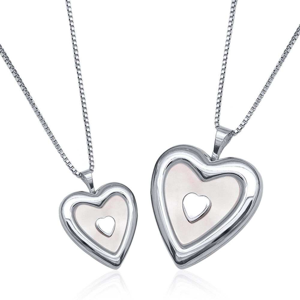 Sterling Silver Mother Daughter MOP Heart Lockets Pendants