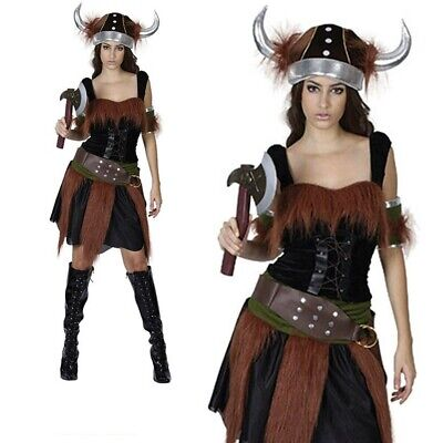 Viking Woman Outfit (Viking Lady Costume Warrior Princess Fancy Dress Womens Ladies Outfit)