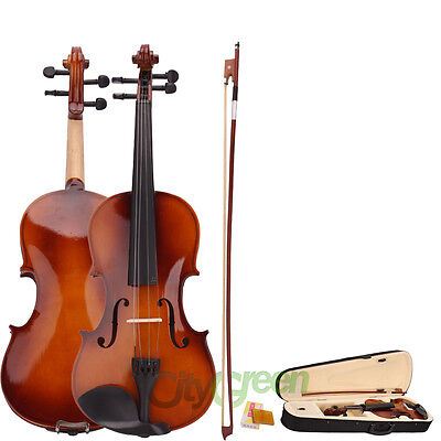 4/4 Full Size Natural Acoustic Violin Fiddle with Case Bow Rosin on Rummage