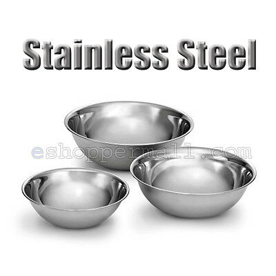 3 PCS Stainless Steel Kitchen Cooking Serving Set Mixing Bowls 3 Sizes B-13328