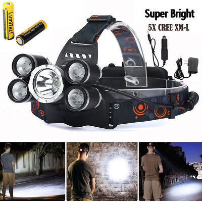 50000Lm Led Headlamp 5 Head Cree Xm L T6 18650 Headlight Flashlight Torch Light