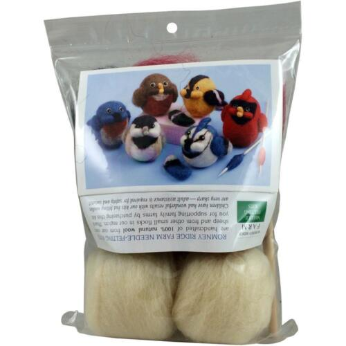 Romney Ridge Farm Chickadee & Robin Birds Needle Felting Kit Wool Roving - NEW