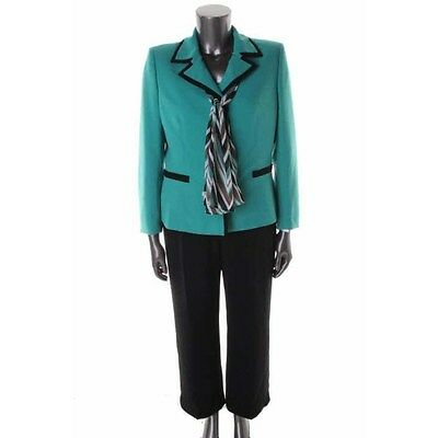 Black Contrast Trimmed Suit Jacket (SUIT STUDIO 2pc Green Textured Contrast Trim Jacket & Black Pant Suit 16 - NEW )