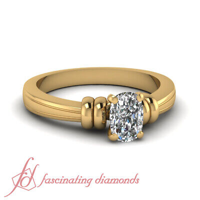 1/2 Ct Cushion Cut Conflict Free Diamond Solitaire Womens Engagement Rings GIA