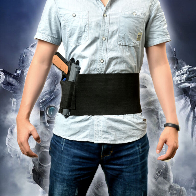 Tactical Adjustable Belly Band Waist Pistol Gun Holster &2 Magzine Pouches