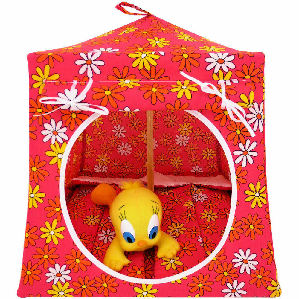Pink, Daisy Print Fabric Toy Play Pop Up Tent, 2 Sleeping Bags, Handmade, Girls - $26.95