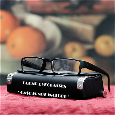 New Men's Clear Lens Glasses Nerd Geek Glasses Fashion Casual Eyewear Matt Black