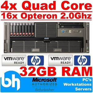 HP DL585 G2 4x Quad Core (16-Core) 32GB RAM SATA/SAS ProLiant Rack Server VMware