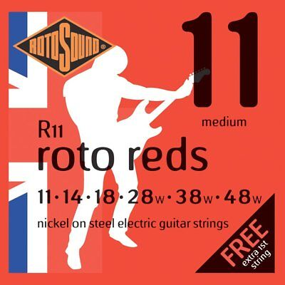 Set of Rotosound R11 Red Electric Guitar Strings (11-48)