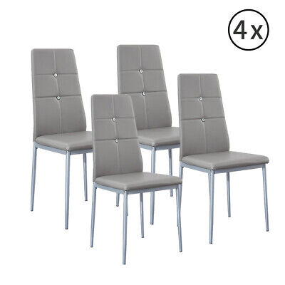 Set of 4 Grey Dining Chairs Faux Leather Padded Seat High Back Home Furniture UK