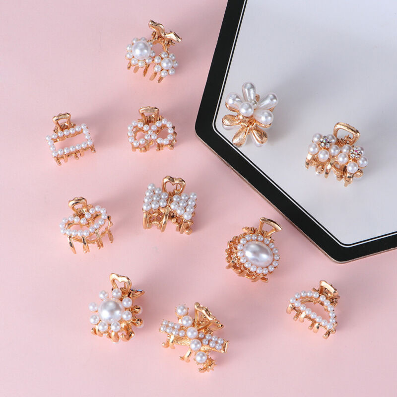 5x Mini Rhinestone Flower Crab Claw Clip Pearl Hair Claw Cli