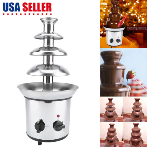 Stainless Steel Chocolate Fondue Fountain 4 Tier 2 Lb Capaci