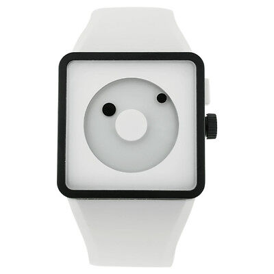 Nixon Square Black and White Dial Plastic Silicone Quartz Men
