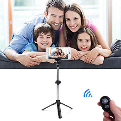 Black Extendable Selfie Stick Tripod Remote Bluetooth Shutter For iPhone 7 Plus