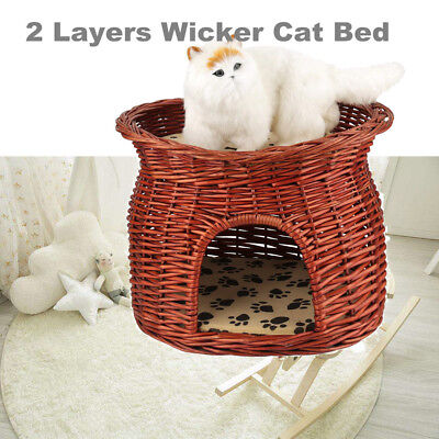 High Quality 2 Layers Wicker Cat Bed Basket  Pet Dog Sleeping House w/2 Cushions