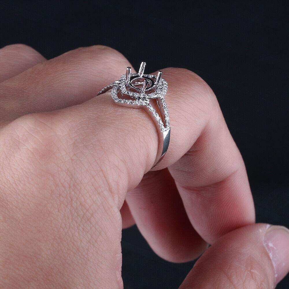 5X7mm Oval Cut Diamond Jewelry Engagement Semi Mount Ring Solid 14K ...