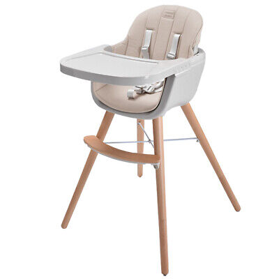 Wooden Feeding High Chair 3in1 Convertible&Cushion Simple switch Toddler Infant
