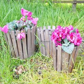Brand New SET OF 3 WOOD AND METAL FRAME PLANTERS 29cm, 23cm , 18cm Rustic Wood Planters