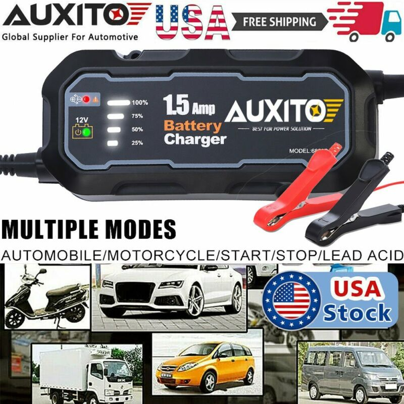 1500mAh Smart Car Battery Charger Maintainer for 12V AGM GEL Battery Vehicles