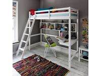 2ft6 white loft bed with shelf