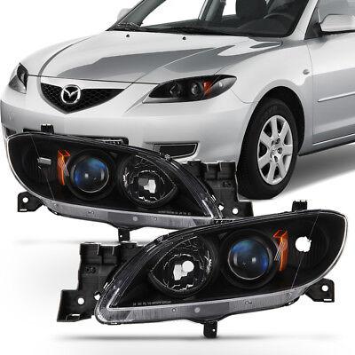 05 06 Mazda 3 Headlight (Black 2004-2009 Mazda 3 Sedan Headlights Halogen Projector Headlamps)