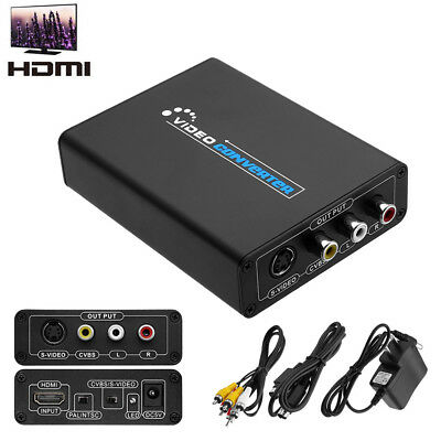 Best HDMI to 3RCA AV CVBS Composite S-Video R/L Audio Converter Adapter USA