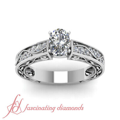 Pave Set Engagement Ring 1.35 Ct Oval Shaped SI2-E Color Diamond GIA Certified 1