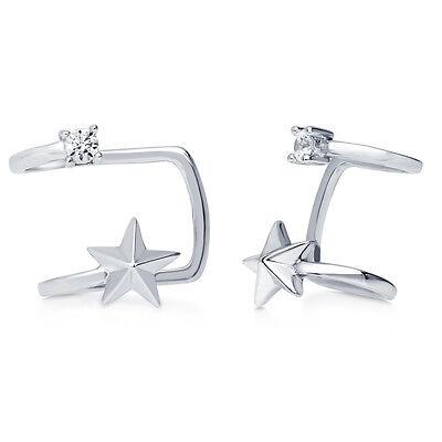 BERRICLE Sterling Silver Star Fashion Ear Cuffs Made with Swarovski Zirconia
